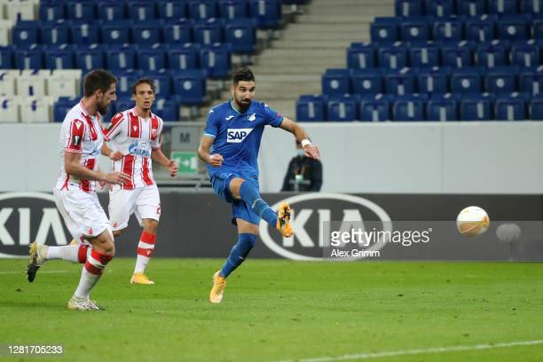 Munas Dabbur of TSG 1899 Hoffenheim scores his sides second goal during the UEFA Europa League Group L stage match between TSG Hoffenheim and Crvena...