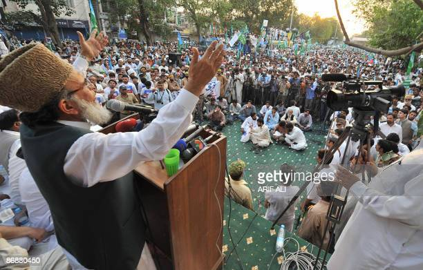 Munawar Hassan Chief of JamaateIslami addresses a protest rally against military operations in Swat and Buner in Lahore on May 10 2009 More than...