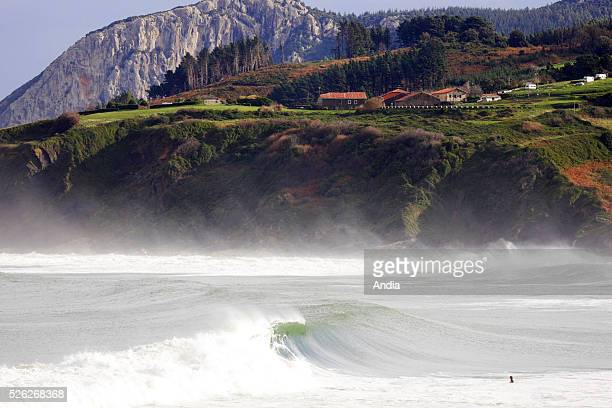 Spot for surfing Wave waves beach mountains cliff wind