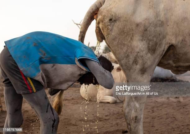 Mundari tribe boy showering in the cow urine to dye his hair in orange Central Equatoria Terekeka South Sudan on November 18 2019 in Terekeka South...