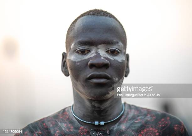 Mundari tribe man covered in ash to repel flies and mosquitoes, Central Equatoria, Terekeka, South Sudan on February 13, 2020 in Terekeka, South...