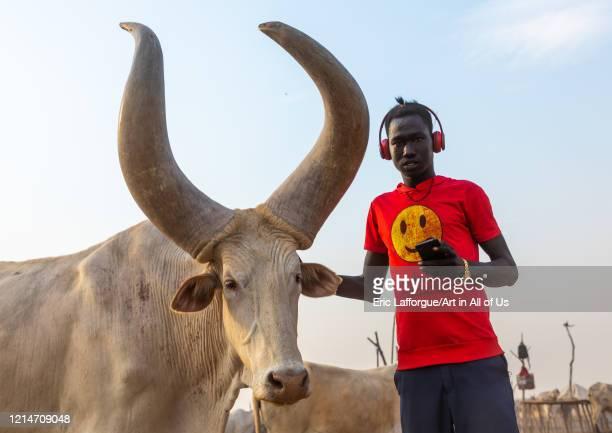 Mundari tribe student in a cattle camp Central Equatoria Terekeka South Sudan on February 13 2020 in Terekeka South Sudan