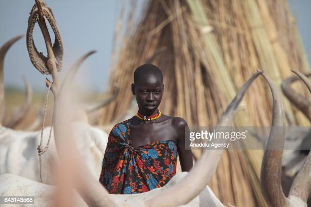 Mundari woman is seen in Terekeka town of Juba South Sudan on February 9 2017 Munda people a small ethnic group of South Sudan provide their lives...