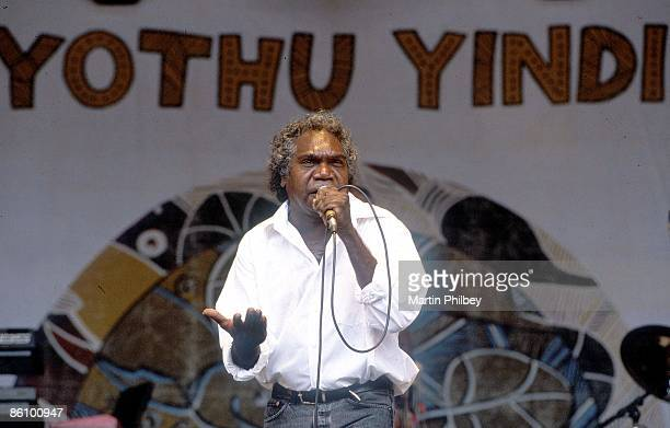 Mundawuy Yunupingu from Yothu Yindi performs live on stage at the Homebake in Melbourne, Australia in January 2001.