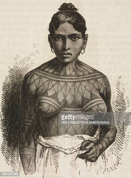 Munduruku woman drawing by Alphonse de Neuville from a photograph from A Journey in Brazil 18651866 by Jean Louis Rodolphe Agassiz and his wife...