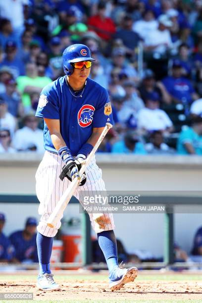 Munenori Kawasaki of Chicago Cubsin in action during the exhibition game between Japan and Chicago Cubs at Sloan Park on March 18 2017 in Mesa Arizona