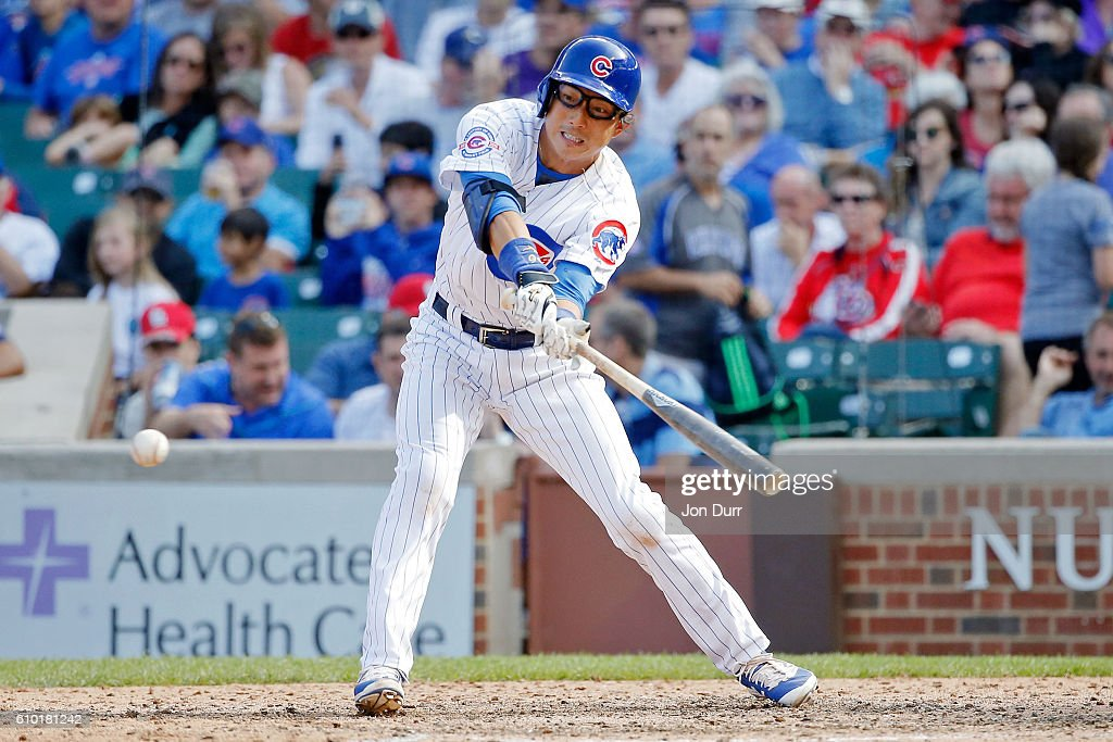 Munenori Kawasaki #66 of the Chicago Cubs at bat against the St. Louis Cardinals during the eighth inning at Wrigley Field on September 24, 2016 in Chicago, Illinois. The St. Louis Cardinals won 10-4.