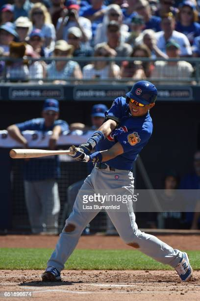Munenori Kawasaki of the Chicago Cubs bats in the second inning against the Seattle Mariners at Peoria Stadium on March 10 2017 in Peoria Arizona
