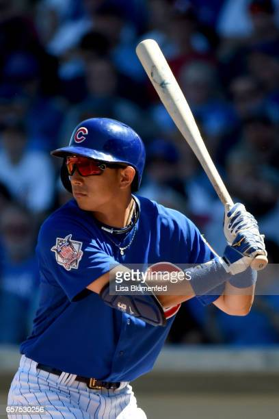 Munenori Kawasaki of the Chicago Cubs bats in the second inning against the Cleveland Indians during a spring training game on March 24 2017 in Mesa...