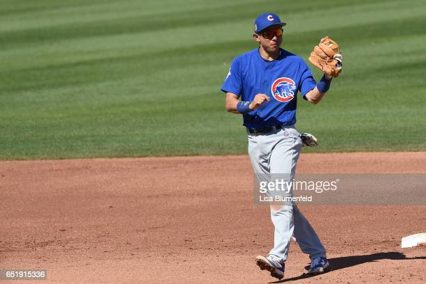 Munenori Kawasaki of the Chicago Cubs plays shortstop in the fourth inning against the Seattle Mariners at Peoria Stadium on March 10 2017 in Peoria...