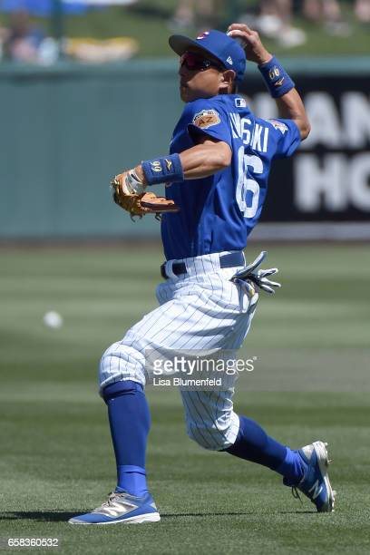 Munenori Kawasaki of the Chicago Cubs warms up before the game against the Cleveland Indians at Sloan Park on March 24 2017 in Mesa Arizona