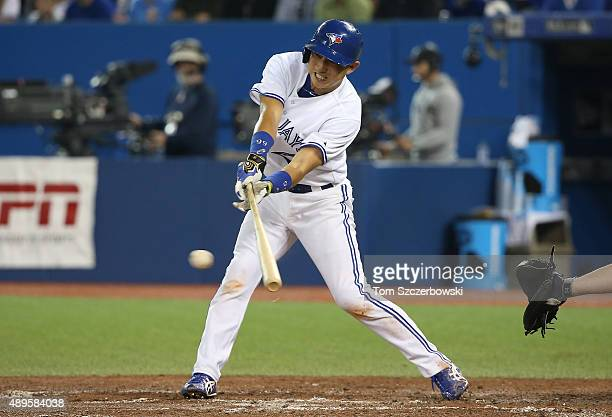 Munenori Kawasaki of the New York Yankees grounds out in the third inning during MLB game action against the Toronto Blue Jays on September 22 2015...