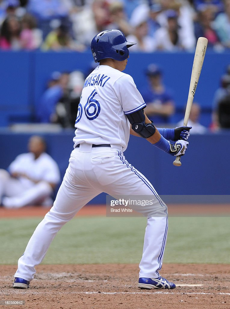 Munenori Kawasaki #66 of the Toronto Blue Jays bats in the eighth inning during MLB game action against the Tampa Bay Rays September 29, 2013 at Rogers Centre in Toronto, Ontario, Canada.