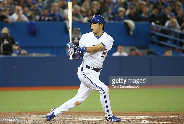 Munenori Kawasaki of the Toronto Blue Jays fouls a ball off in the sixth inning during MLB game action against the Seattle Mariners on May 22 2015 at...