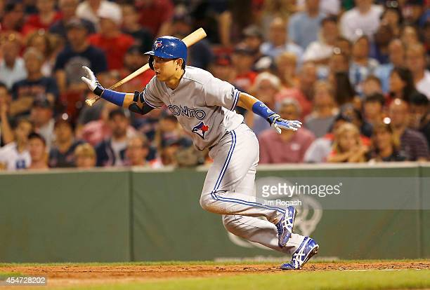 Munenori Kawasaki of the Toronto Blue Jays grounds out in the fifth inning against the Boston Red Sox at Fenway Park on September 5 2014 in Boston...