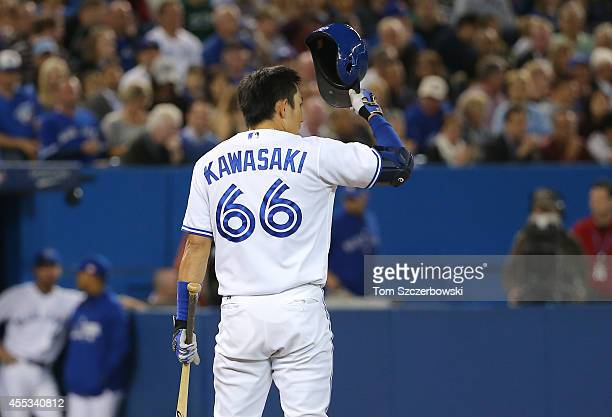 Munenori Kawasaki of the Toronto Blue Jays pinch hits in the seventh inning during MLB game action against the Tampa Bay Rays on September 12, 2014...