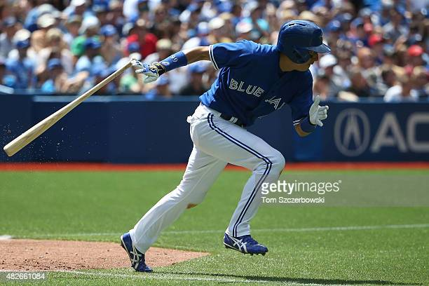 Munenori Kawasaki of the Toronto Blue Jays runs out a groundout in the sixth inning during MLB game action against the Kansas City Royals on August 1...