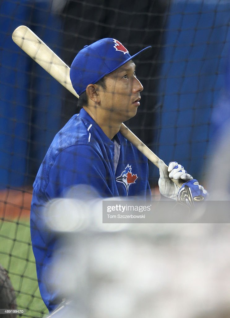 Munenori Kawasaki #66 of the Toronto Blue Jays warms up during batting practice before the start of MLB game action against the Boston Red Sox on September 19, 2015 at Rogers Centre in Toronto, Ontario, Canada.