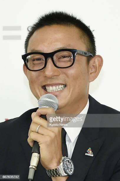 Munenori Kawasaki who was dropped from the Chicago Cubs attends a press conference on April 1 in the southwestern Japan city of Fukuoka as he...