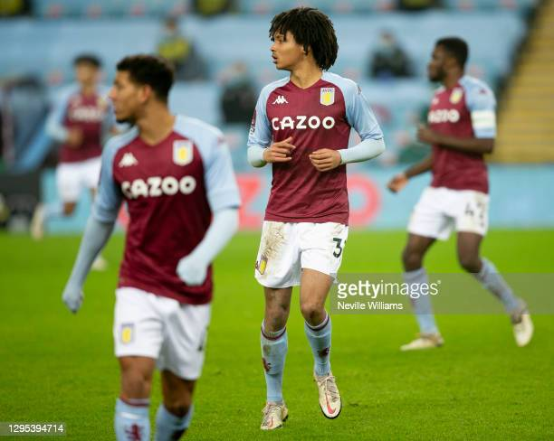 Mungo Bridge of Aston Villa in action during the FA Cup Third Round between Aston Villa and Liverpool at Villa Park on January 08, 2021 in...