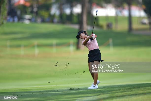 TOPSHOT Muni He of China hits a shot during the final round of the LPGA Thailand golf tournament in Pattaya on February 24 2019