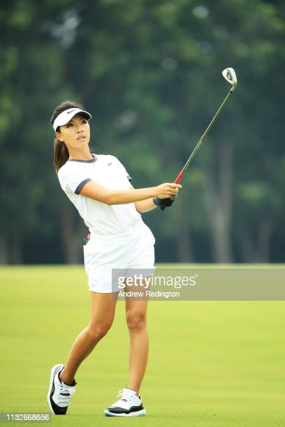 Muni He of China plays a shot on the 13th hole during the first round of the HSBC Women's World Championship at Sentosa Golf Club on February 28 2019...