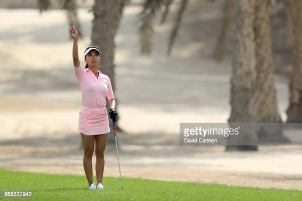 Muni He of China plays her second shot on the par 4 12th hole during the third round of the 2017 Dubai Ladies Classic on the Majlis Course at The...