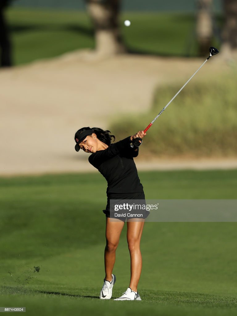 Muni He of China plays her second shot on the par 5, 10th hole during the second round of the 2017 Dubai Ladies Classic on the Majlis Course at The Emirates Golf Club, on December 7, 2017 in Dubai, United Arab Emirates.