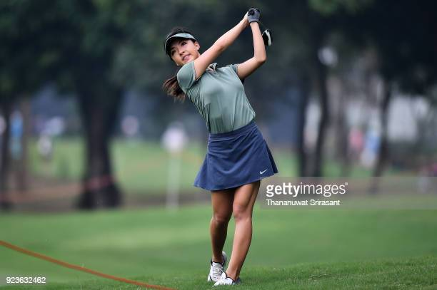 Muni HE of China plays the shot during the Honda LPGA Thailand at Siam Country Club on February 24 2018 in Chonburi Thailand