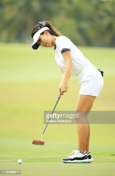 Muni He of China putts on the 13th green during the first round of the HSBC Women's World Championship at Sentosa Golf Club on February 28 2019 in...