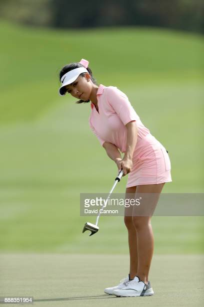 Muni He of China putts on the par 4 12th hole during the third round of the 2017 Dubai Ladies Classic on the Majlis Course at The Emirates Golf Club...