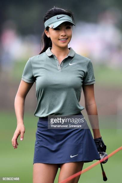 Muni HE of China smiles during the Honda LPGA Thailand at Siam Country Club on February 24 2018 in Chonburi Thailand