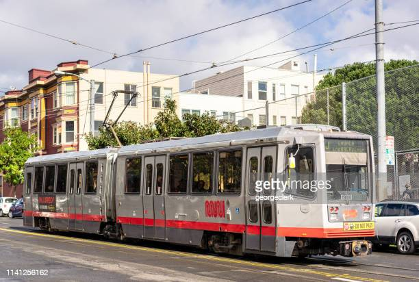 muni lightrail in san francisco - castro district stock pictures, royalty-free photos & images