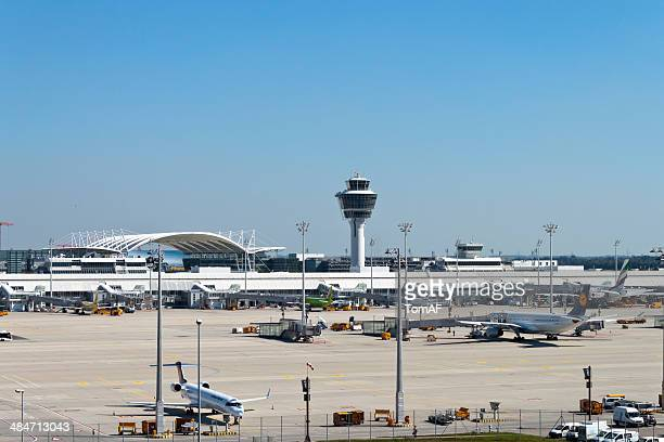 munich airport runway - munich airport stock photos and pictures