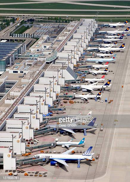 munich airport terminal 2 aerial - munich airport stock photos and pictures