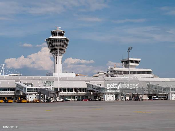 Munich Airport tower and gates, Germany