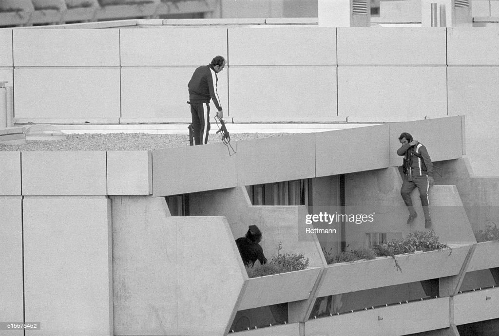 Police Dropping In on Olympic Terrorists, 1972 : News Photo