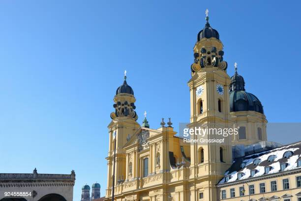 munich, bavaria, germany – february 25, 2018: theatiner church in winter - rainer grosskopf stock pictures, royalty-free photos & images