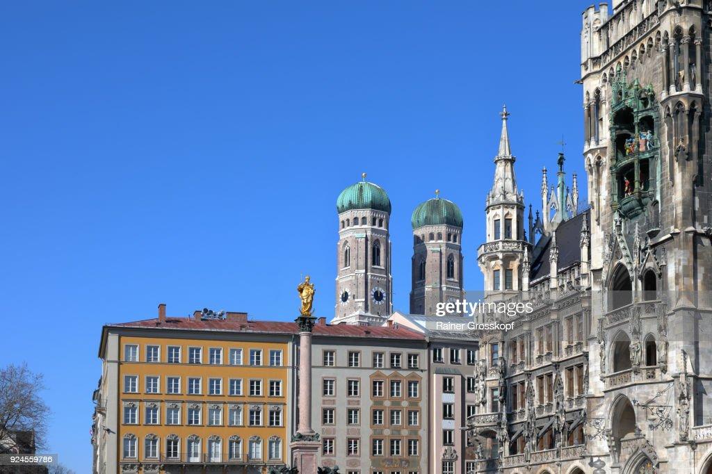 Munich, Bavaria, Germany – February 25, 2018: View from Marienplatz : Stock-Foto