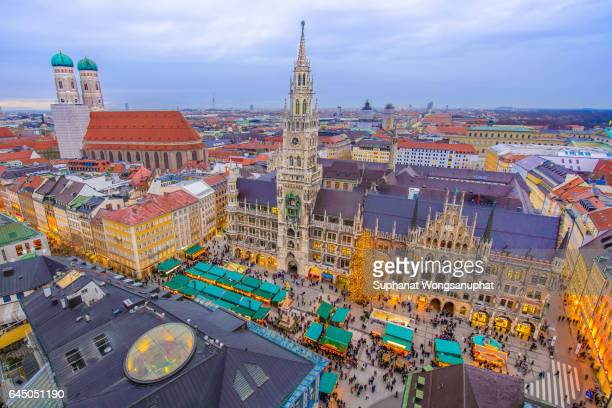 Munich city hall with Christmas market, Munich, Germany