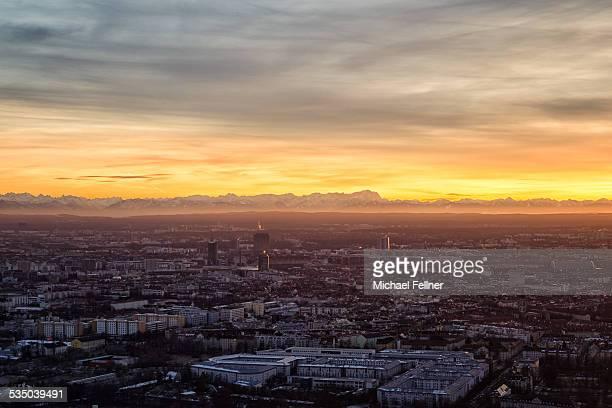 Munich cityscape with Alps