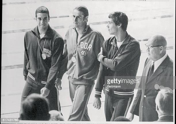 200 Meter Backstroke Medalists in the Olympic Games in Munich are shown after presentations LR Mike Stam of San Diego California USA Silver Roland...