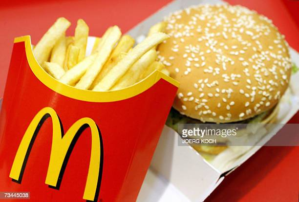 A McDonalds Big Mac and chips are pictured at a McDonalds restaurant beside their headquarters in Munich southern Germany 27 February 2007 Bane...