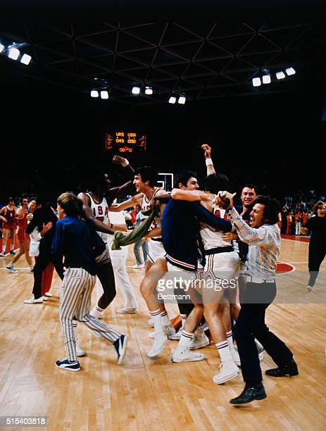 A short moment of joy for the USA basketball players who mistakenly celebrate what they thought was a victory over the Soviet team in the final game...
