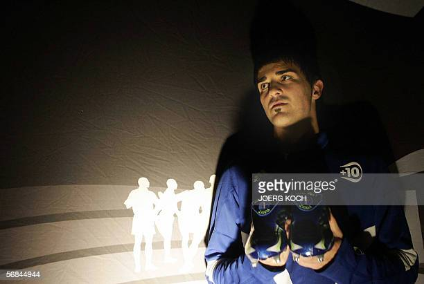 Brazilian football player Vicente presents the new Adidas football shoe 'F50 Tunit' 13 February 2006 in Munich The German maker of sportswear and...