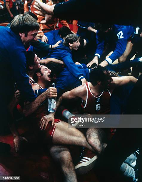Munich Germany Happy Soviet players celebrate their win against USA in the exciting Olympic final game in basketball giving the Soviets the gold medal