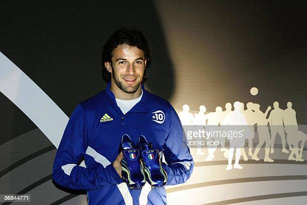 Italian football player Alessandro del Piero presents the new Adidas football shoe 'F50 Tunit' 13 February 2006 in Munich The German maker of...