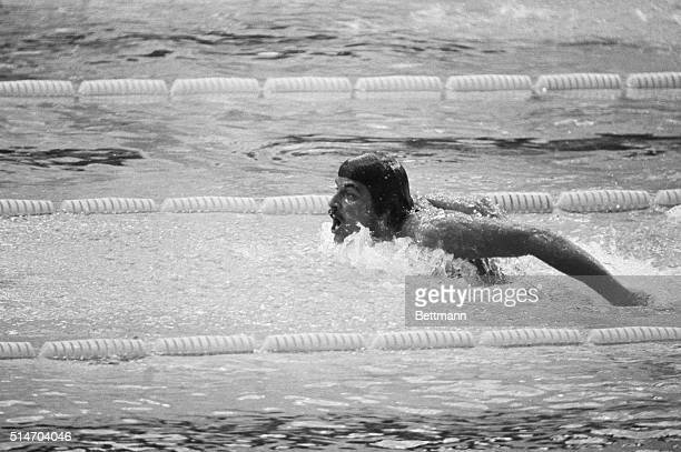 Mark Spitz of Carmichael Calif USA wings his way to a seventh gold medal as he swims the butterfly leg of the 4x100 meters medley at the Olympics 9/4...