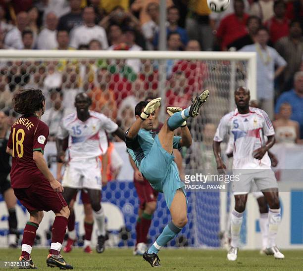 Portuguese goalkeeper Ricardo is seen in the French penalty area after leaving his goal at the end of the World Cup 2006 semi final football game...