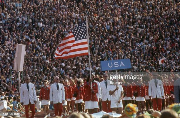 US Olympic team enters the stadium during the opening ceremonies of the 20th Olympic games in Munich Olga Connolly wife of Harold Connolly leads the...